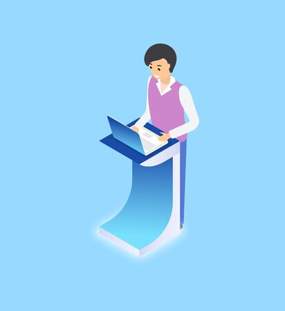 Standing man using laptop on platform, worker with wireless gadget, modern equipment of employee, portrait view of person working with device vector Illustration