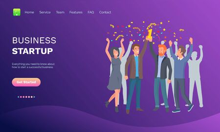 Successful business startup, teamwork and win, people with confetti, portrait view of people, professionals celebrating, employees together vector. Website or webpage template, landing page flat style