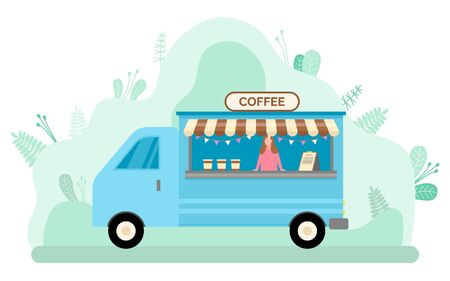Girl selling drinks in mobile cafe. Coffee to go in vintage truck. Blue bus with espresso, cappuccino and latte. Street market, fast food outdoor vector