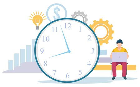 Man working with computer. Big clock with gears, dollar sign and light bulb. Time management concept, planning events, business organization vector illustration Illustration