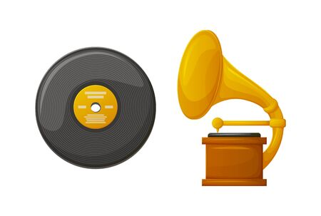 Gramophone with vintage vinyl plate stereo vector, isolated icons of reward and spinning recorded music. Musical reward tournament trophy, gold prize Vetores