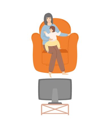 Woman watching tv with child vector, person with kid spending time in family circle, comfortable and fluffy armchair, toddler with mom flat style leisure