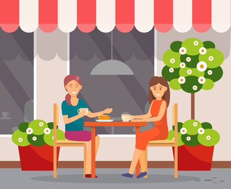 Friends talking and spending time together in cafe. Women have intimate talk on restaurant terrace. People drinking coffee and eating dessert. Exterior of cafeteria, veranda. Vector illustration Illustration