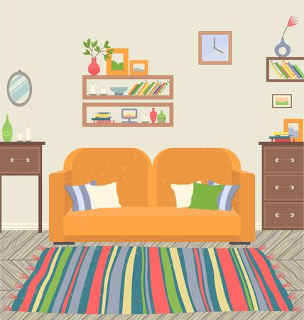 Home interior design of living room vector, sofa with pillows, furniture and drawers, table with vase and pictures. Shelves with books, clock and mirror on wall