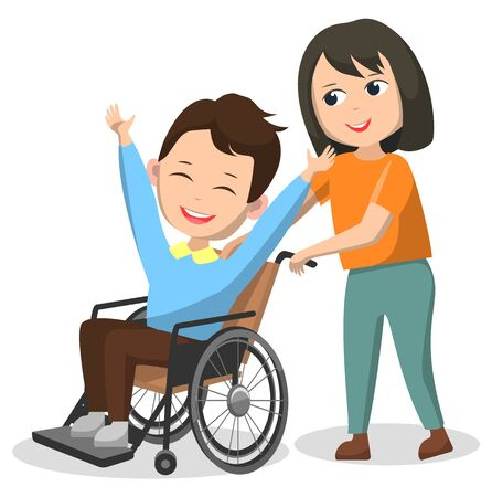 Children charity club, boy and girl happy kids. Schoolboy sitting in wheelchair, disabled character in circle rehabilitation style. Vector illustration in flat cartoon style