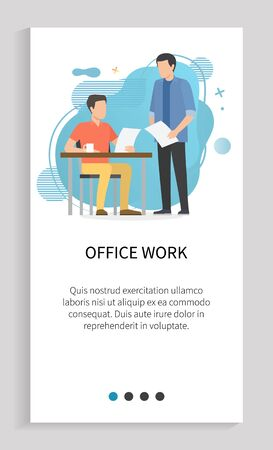 Office work vector, employer giving task to employee man standing with papers document with info on business project, data on pages, workplace. Website slider app template, landing page flat style