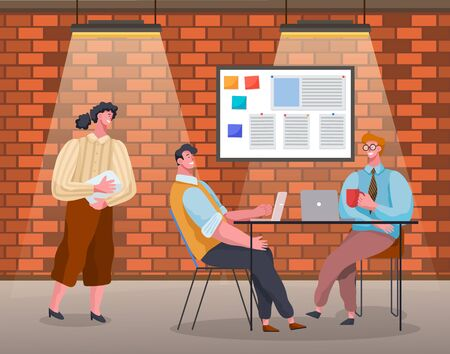 Statistics and data analysis, people in office working on project development. Manager and employee brainstorming on new business concept. Seminar or conference with boss. Vector in flat style