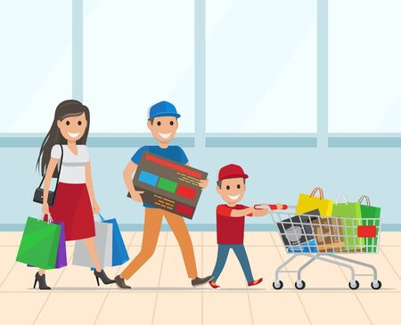 Family walking with shopping cart full of goods. Little kid pushing supermarket trolley. Buyers carrying bags. Hypermarket , mall or grocery shop vector 向量圖像