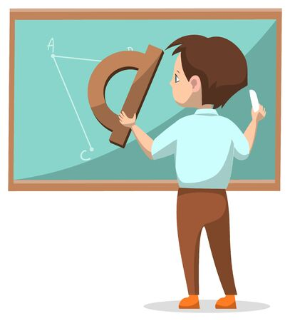 Boy drawing on blackboard with chalk. Kid in classroom with ruler. Math club, geometry class. Back to school concept. Flat cartoon vector illustration 向量圖像