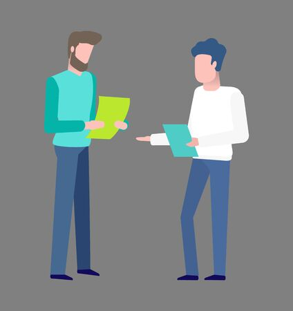 People on meeting vector, man with documents looking at papers and contract of coworker, bearded character wearing formalwear suit, colleagues conference