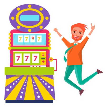 Man jumping of happiness vector, isolated redhead male winning money in casino. Slot machine with lucky sevens, gambling. Chance of gambler gesturing