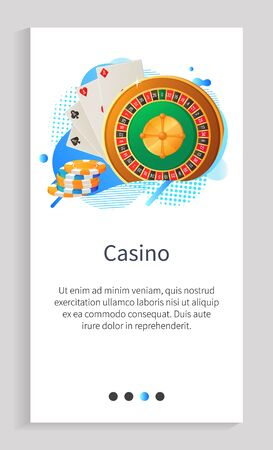 Casino vector, entertainment and recreation, hobby gambling playing poker, cards with chips and roulette with numbers, gaming jackpot with text. Website or app slider template, landing page flat style