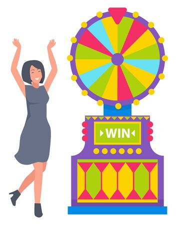 Lucky lady winning game machine, business success. Smiling female gambler playing casino wheel, gambling entertainment, woman and fortune sign vector