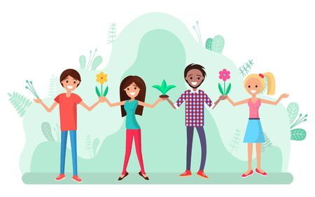 Man and woman holding flowers in hands vector, people preserving nature. Characters smiling, flora and natural plants blooming and flourishing tulip