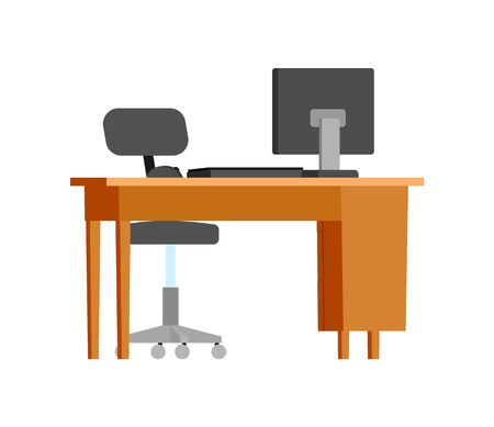 Workplace, wooden table with personal computer vector. Isolated icon of desktop with pc keyboard and mouse, business appliances, devices for work