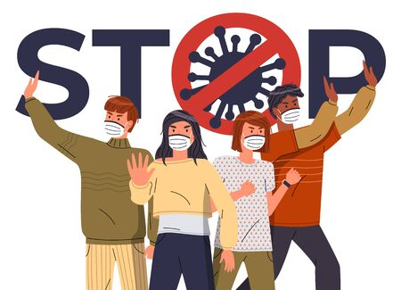 Crowd of multinational people in face medical masks protesting against world epidemic. Group of characters gesturing stop signs to spreading virus. Concept of covid19. Stop gesture, crossed out sign