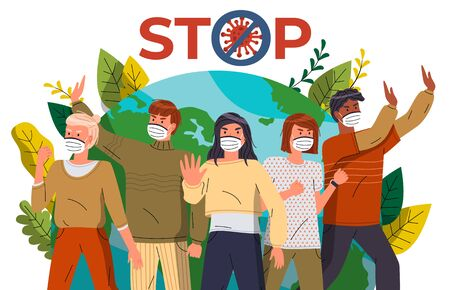 Crowd of multinational men and women protesting against world epidemic at earth background. Concept of coronavirus spreading. People show stop gesture and protesting against virus, crossed out sign