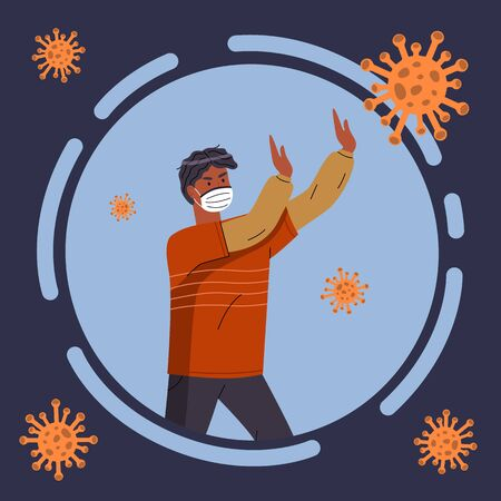 Cartoon icon, portrait of man in respiratory medical mask isolated in circle, flying virus pathogen around. Black guy show stop gesture to virus spreading. Cartoon character in flat vector style