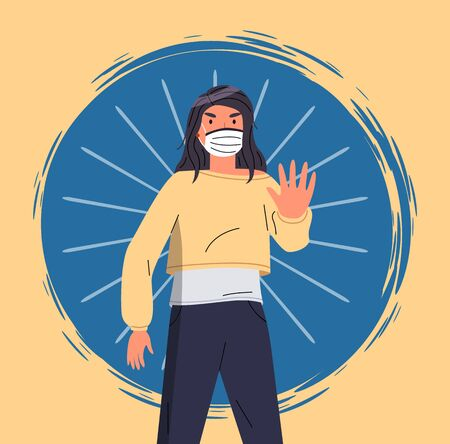 Portrait of vector cartoon character wearing face medical mask show stop gesture at blue and yellow background. Concept of stop world epidemy. Young woman protect from virus with respiratory mask