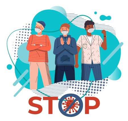 Young mix race guys wearing face medical masks protesting against world epidemic at background of turquoise vector elements, stop sign. Stop spreading coronavirus. Crossed out sign. Cartoon characters