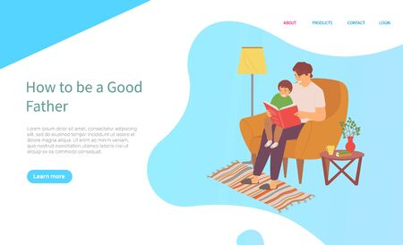 Father sitting with son on sofa and reading book, father caring and education of child, family on soft armchair, wooden table, carpet and lamp, room vector, concept for Father day