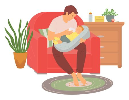 Dad sitting on sofa with newborn, father feeding infant with bottle, parent and son characters in room, wooden bedside and house plant, parenthood vector