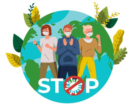 Man and women in medical masks call to fight with virus at earth with leaves background. Concept of coronavirus world spreading. People show stop gesture, protesting against virus, crossed out sign
