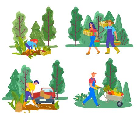 Set of people working on field, harvesting grown plants and vegetables. Man and woman carrying veggies in boxes and buckets. Male digging out potato transporting with van, guy with cart vector