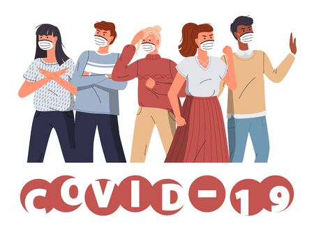 Group of multinational men and women in medical masks protesting against world epidemy at white background. Concept of coronavirus spreading. People show stop gesture and fighting with covid-19