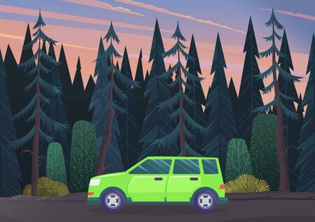 Summer time family trip. People traveling by car on the road in the forest. Traveling together. Green automobile moving on a ground way through a dark forest. Car driving on road vector, flat style