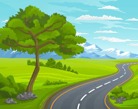 Road to the mountain. Scenic summer landscape with asphalt road passing through forest to high hills. Traveling and adventures through scenery meadows along a curving road to the snow-capped peaks