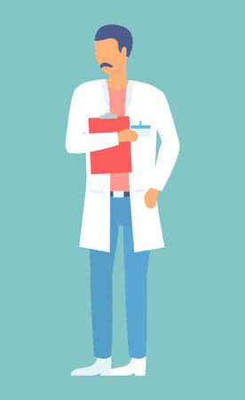 Doctor in hospital is holding clipboard. Healthcare poster, depicting doctor with notes and information. Person in white uniform with notepad, medical gown. Health care assistant vector illustration 일러스트