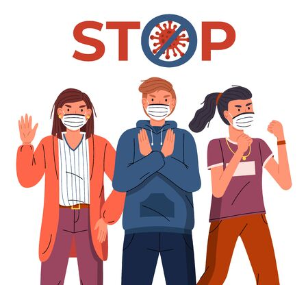 Group of young guy and girls wearing face medical masks protesting, gesticulate hands at white background. Concept of stop dangerous virus spreading. Crossed out sign. Vector cartoon characters