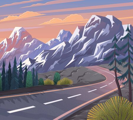 Road to the mountain. Scenic landscape with asphalt road passing through forest to high hills. Traveling and adventures through scenery mountain stones along a curving road to the snow-capped peaks