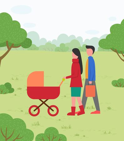Parents walking with infant near trees, woman going with pram. Family leisure in green park, mother and father with stroller outdoor, parenting vector