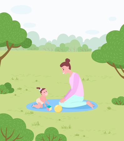 Family in park, mother and baby on rug, newborn and woman vector. Child and toys, mommy playing with kid, childhood care and love, nature and meadow