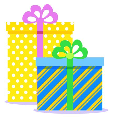 Christmas gifts, traditional holiday celebration. Vector colorful boxes with presents inside and tied with ribbon. Isolated festive packages on white background. Xmas tradition to greet each other