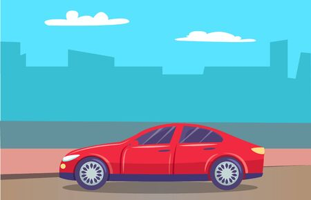 Skyline of big city in haze and car passing cityscape. Vehicle on road of town. Traveling and enjoying urban landscapes. Transport for trips and journeys. Freeway with automobile. Vector in flat style