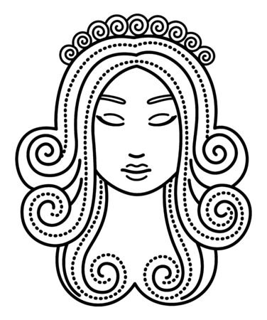 Sixth astrological sign, virgo associated with constellation. Beautiful woman face. Myths view this zodiac as virgin, maiden. Contour drawing on white background. Vector illustration in flat style