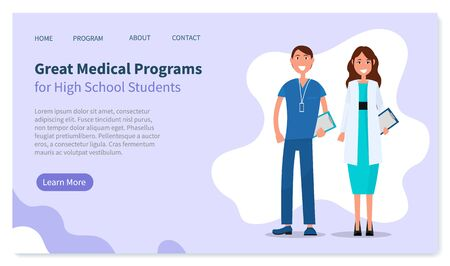 Higher education landing page vector template. College, medical university website homepage interface idea. Professional chemistry courses web banner, guy and girl in doctor uniforms illustration