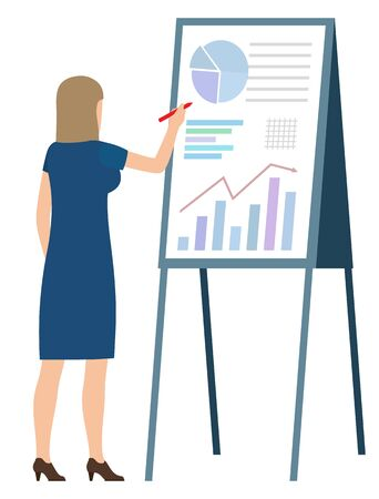 Woman with pen making notes on board with graphs and charts. Vector business person analytic financial worker analyzing sales and trades on data diagram