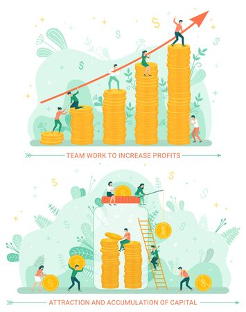 Attraction and accumulation of finances vector, people working on progress of business. Woman and man with jar investing money, gold coins flat style Vettoriali
