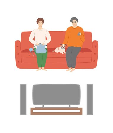 People at home relaxing evening from work vector, man and woman watching tv set looking at plasma, male sitting with