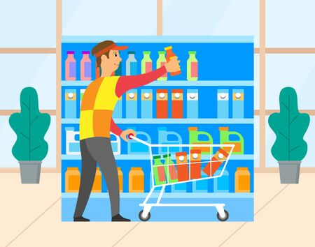 Buyer man choosing products in supermarket, bottle and pack on shelf. Male character with cart, retail symbol, person buying in hypermarket, store vector