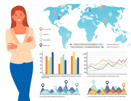 Woman with infocharts vector, presentation with graphics and info resources, lady standing by data world map with pointers and flowcharts schemes set