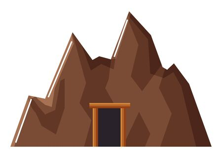 Mine with doors construction. Mining industries or geology researches in quarry. Industrial works on finding coal and minerals, heavy ores and gold or gems. Deep tunnel isolated icon, vector Çizim