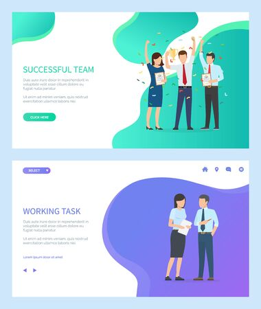 Successful team vector, people wearing formal suits working together on task completion. Woman and man celebrating success and victory of group. Website or webpage template, landing page flat style Çizim