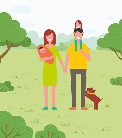 Summer park, outdoor activity, family walking on nature vector. Father and mother, baby son and daughter, dog pet and dad carrying girl on shoulders