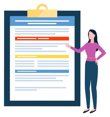 Woman showing information on clipboard vector, isolated female character presenting data analysis. Worker assistant with info on board, paper document, business report flat style personage secretary