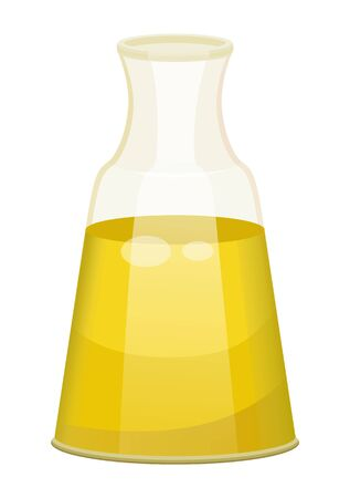 Glass bottle closed with bung with golden liquid inside. Vessel with viscous purified substance used for cooking or hair care. Vegetable, olive or sunflower, oil produced by plant. Vector illustration Ilustrace